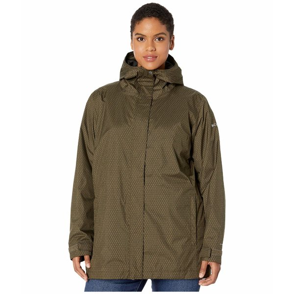 コロンビア レディース コート アウター Plus Size Splash A Little II Rain Jacket Olive Green Mini Hex Print