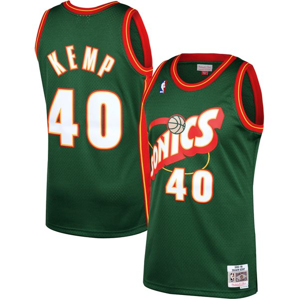 ミッチェル&ネス メンズ ユニフォーム トップス Shawn Kemp Seattle SuperSonics Mitchell & Ness 199596 Hardwood Classics Swingman Jersey Green