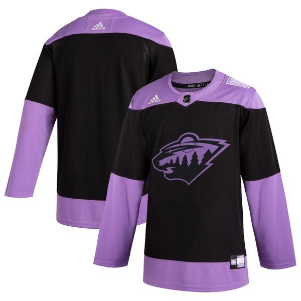 アディダス メンズ ユニフォーム トップス Minnesota Wild adidas Hockey Fights Cancer Practice Jersey Black