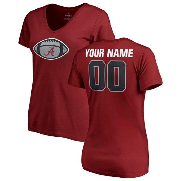 ファナティクス レディース Tシャツ トップス Alabama Crimson Tide Fanatics Branded Women's Game Ball Personalized VNeck TShirt Crimson
