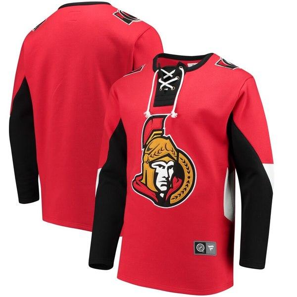 ファナティクス メンズ パーカー・スウェットシャツ アウター Ottawa Senators Fanatics Branded Breakaway Lace Up Pullover Sweatshirt Red