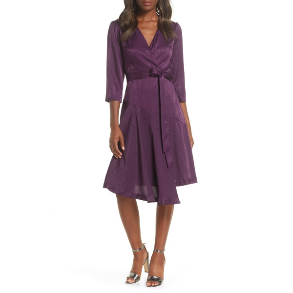 メゾン タラ レディース ワンピース トップス Maison Tara Jacquard Asymmetrical Faux Wrap Dress Mulberry