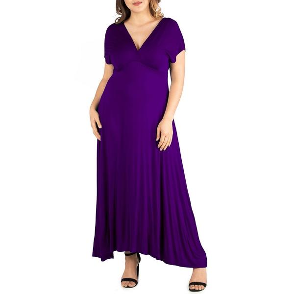 至上 24セブンコンフォート レディース トップス ワンピース お気に入り Purple 全商品無料サイズ交換 Women's Size Empire Plus Waist Dress Maxi