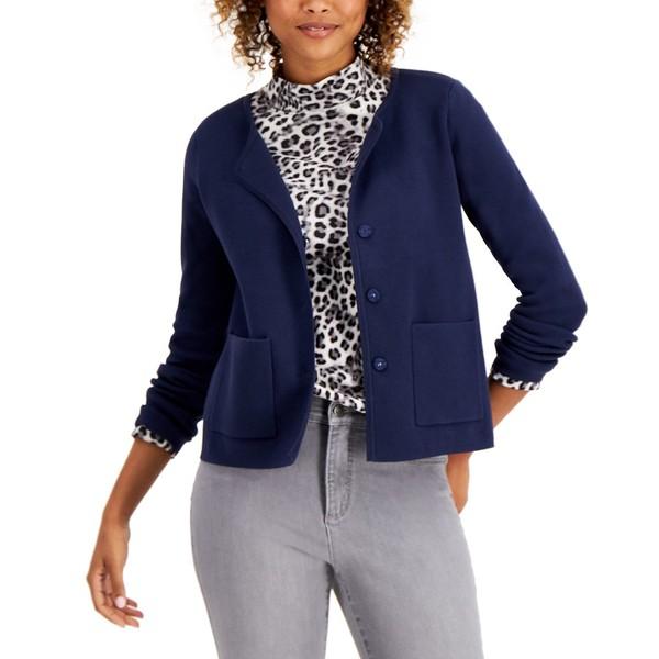 Intrepid Blue チャータークラブ レディース アウター Jacket ニット&セーター Sweater