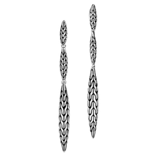 ジョン・ハーディー レディース ピアス&イヤリング アクセサリー Classic Chain Spear Drop Earrings Silver