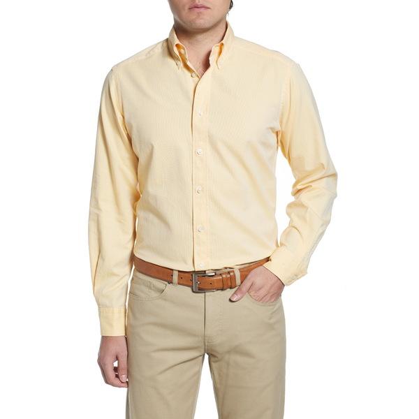 エトン メンズ シャツ トップス Soft Casual Line Contemporary Fit Oxford Casual Shirt Yellow