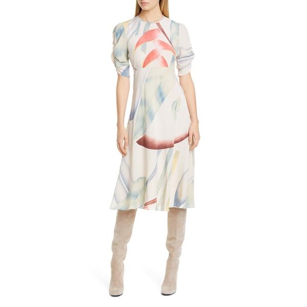 エトロ レディース ワンピース トップス Watercolor Leaf Print Silk Midi Dress White