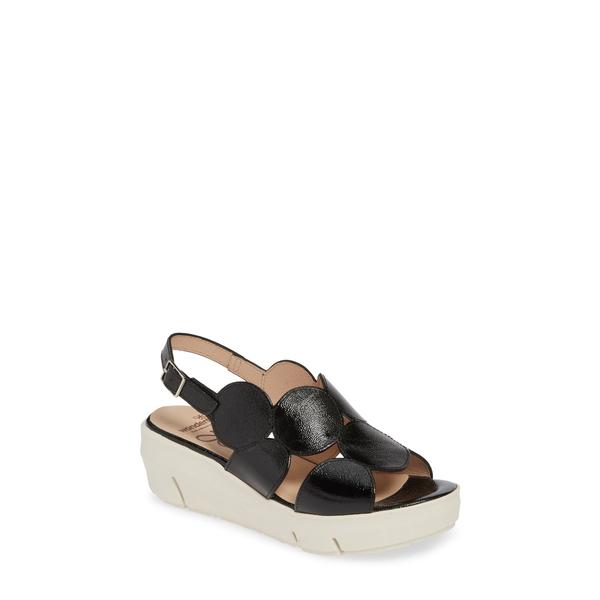 ワンダーズ レディース サンダル シューズ Platform Sandal Black Leather