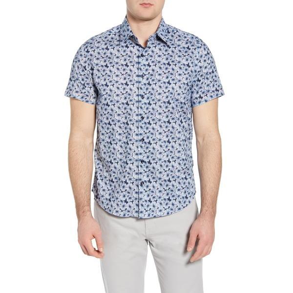 ストーンローズ メンズ シャツ トップス Floral Short Sleeve Button-Up Shirt Navy