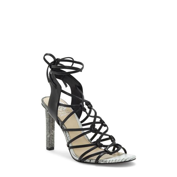 ヴィンスカムート レディース サンダル シューズ Sherinda Cage Ankle Wrap Sandal Black Leather