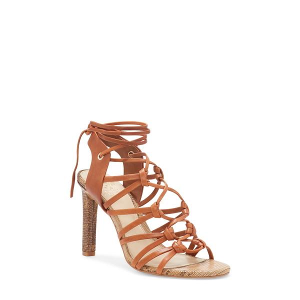 ヴィンスカムート レディース サンダル シューズ Sherinda Cage Ankle Wrap Sandal Camel Brown Leather