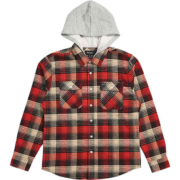 ブリクストン メンズ シャツ トップス Brixton Men's Bowery Hood LS Flannel Red / Black Combo