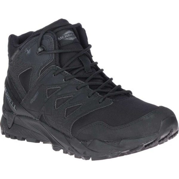 メレル メンズ ブーツ&レインブーツ シューズ Agility Peak Mid Tactical Waterproof Boot Black Waterproof Ballistic Mesh