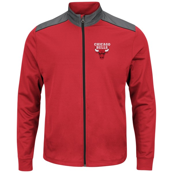 マジェスティック メンズ ジャケット&ブルゾン アウター Chicago Bulls Majestic Fast or Last FullZip Jacket Red