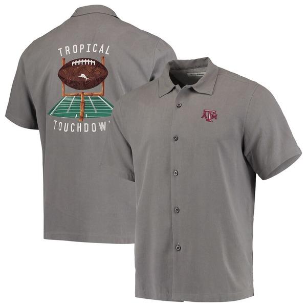 トッミーバハマ メンズ シャツ トップス Texas A&M Aggies Tommy Bahama Tropical Touchdown Camp Button-Up Shirt Gray