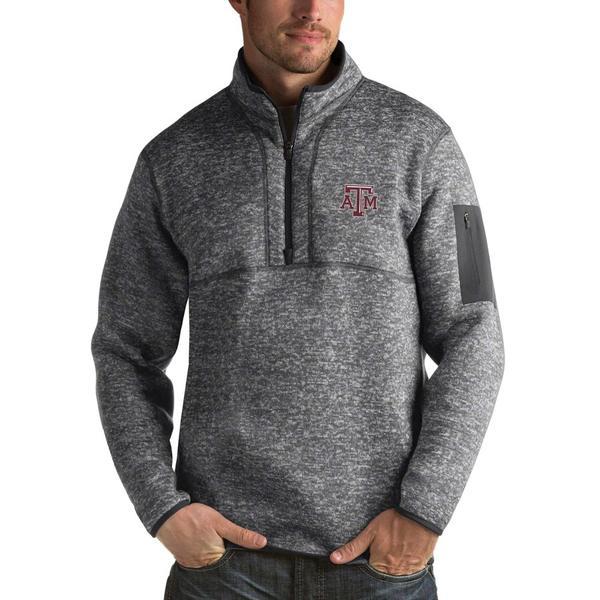 アンティグア メンズ ジャケット&ブルゾン アウター Texas A&M Aggies Antigua Fortune 1/2-Zip Pullover Sweater Heathered Charcoal