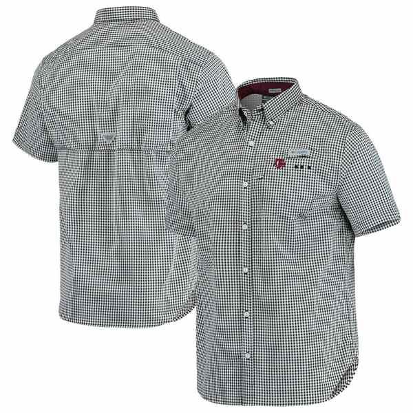 コロンビア メンズ シャツ トップス Texas A&M Aggies Columbia Gingham Super Harborside PFG Button-Down Shirt Gray