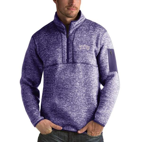 アンティグア メンズ ジャケット&ブルゾン アウター TCU Horned Frogs Antigua Fortune 1/2-Zip Pullover Sweater Heathered Purple