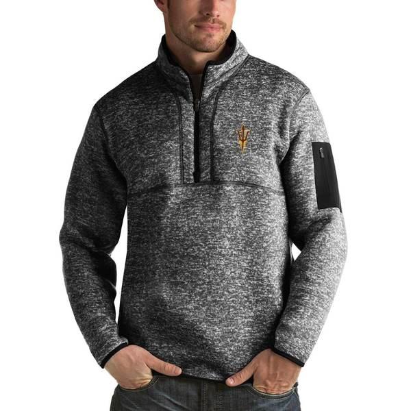アンティグア メンズ ジャケット&ブルゾン アウター Arizona State Sun Devils Antigua Fortune 1/2-Zip Pullover Sweater Heathered Black