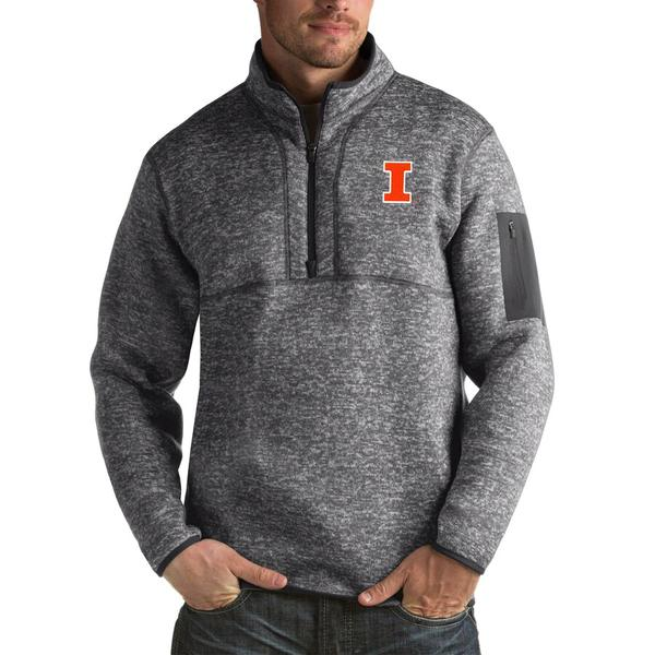 アンティグア メンズ ジャケット&ブルゾン アウター Illinois Fighting Illini Antigua Fortune Big & Tall Quarter-Zip Pullover Jacket Charcoal