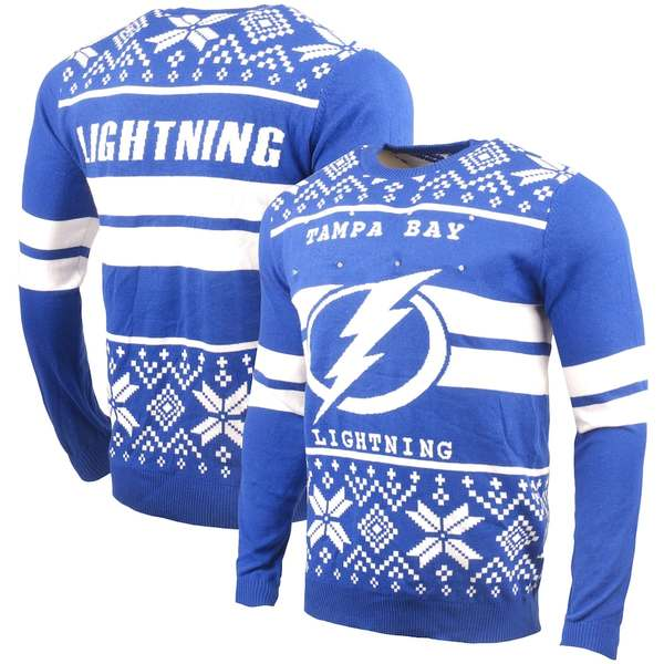 フォコ メンズ シャツ トップス Tampa Bay Lightning Two-Stripe Big Logo Light-Up Sweater Royal
