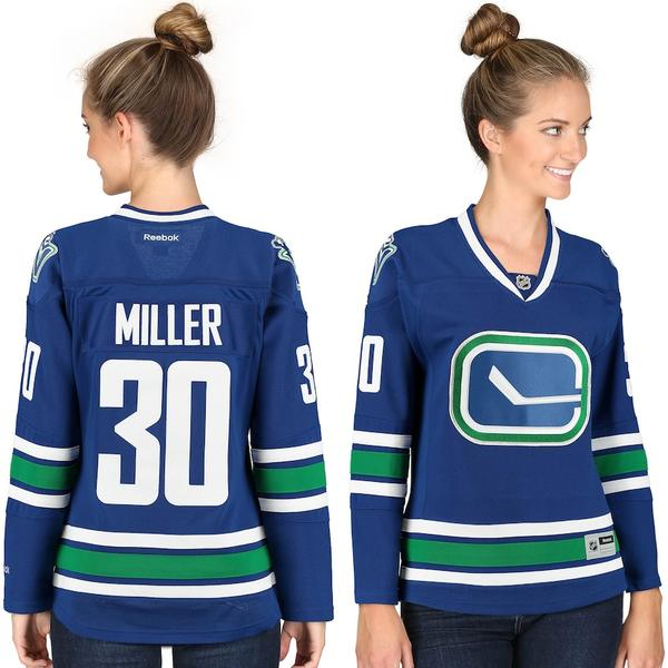 リーボック レディース シャツ トップス Ryan Miller Vancouver Canucks Reebok Women's Premier Player Jersey Blue