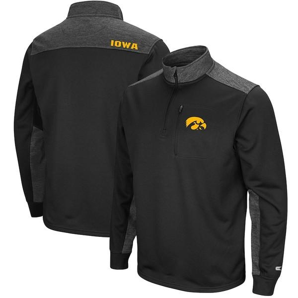コロシアム メンズ ジャケット&ブルゾン アウター Iowa Hawkeyes Colosseum Samir Quarter-Zip Fleece Jacket Black/Charcoal