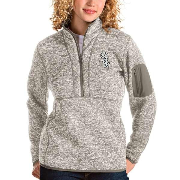 アンティグア レディース シャツ トップス Chicago White Sox Antigua Women's Fortune Quarter-Zip Pullover Jacket Oatmeal