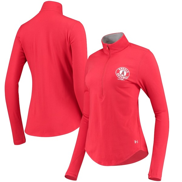アンダーアーマー レディース ジャケット&ブルゾン アウター Los Angeles Angels Under Armour Women's Charged Cotton Half-Zip Pullover Jacket Red