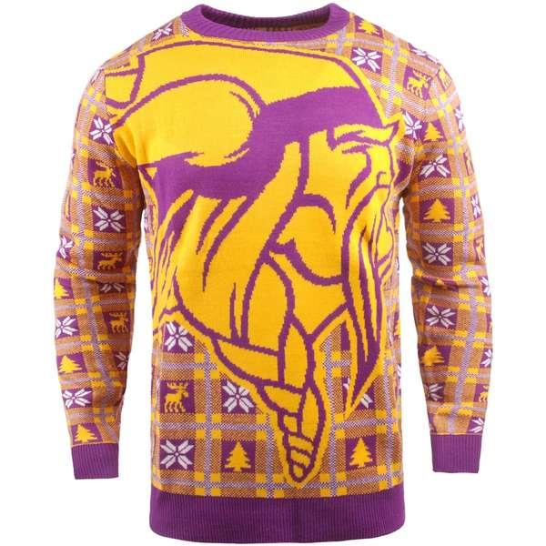 フォコ メンズ シャツ トップス Minnesota Vikings Big Logo Pullover Sweater Purple