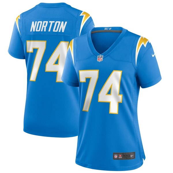 ナイキ レディース シャツ トップス Storm Norton Los Angeles Chargers Nike Women's Game Jersey Powder Blue