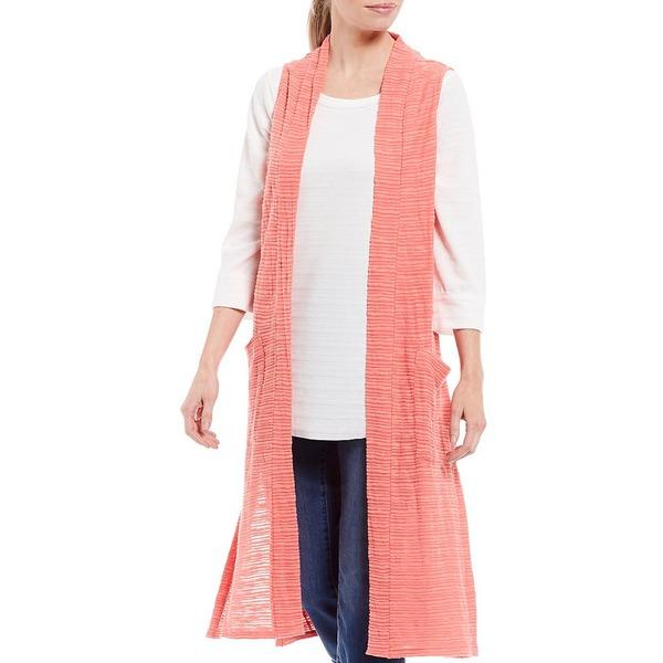 ウェストボンド レディース ジャケット&ブルゾン アウター Two-Pocket Sleeveless Open Front Duster Vest Spiced Coral