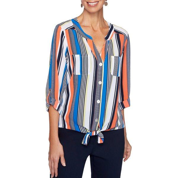 ルビーロード レディース シャツ トップス Stripe Print Stretch Crepe Roll-Tab Sleeve Button Tie Front Top Royal Multi