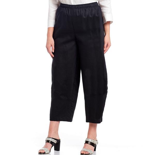 アイシーコレクション レディース カジュアルパンツ ボトムス Plus Size Cotton Linen Blend Twill Elastic Waist Lantern Pant Black