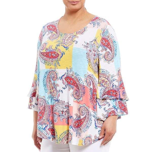 ルビーロード レディース Tシャツ トップス Plus Size Knit Fresco Paisley Print 3/4 Flounce Sleeve Top Soft White Multi