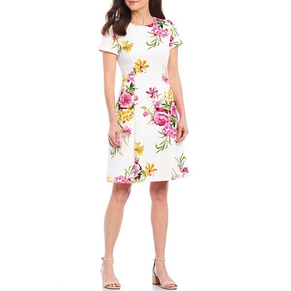 ジェシカハワード レディース ワンピース トップス Spring Floral Print Scuba Dress Ivory Multi