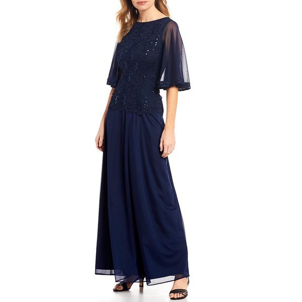 マリーナ レディース ワンピース トップス Lace Bodice Bell Sleeve Matte Jersey Gown Navy