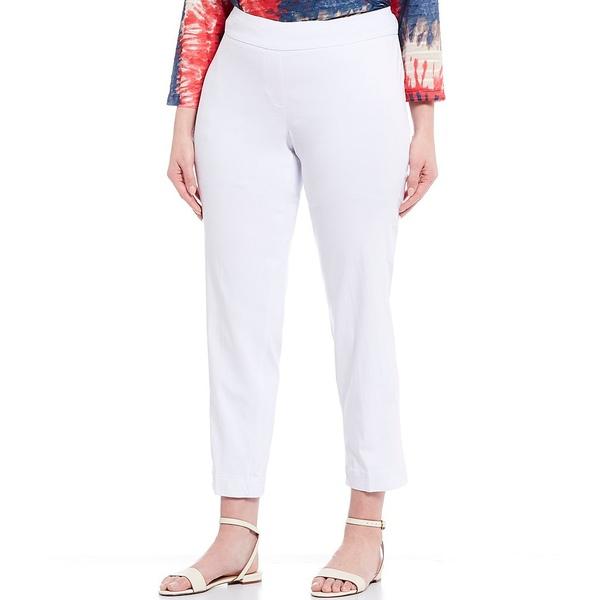 マルチプルズ レディース カジュアルパンツ ボトムス Plus Size Pull-On Solid Ankle Pants White
