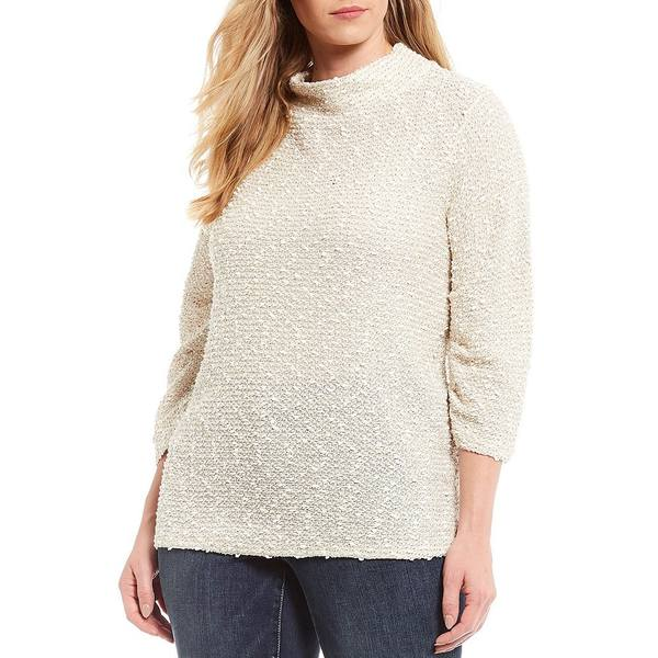 ヴィンスカムート レディース ニット&セーター アウター Plus Size 3/4 Sleeve Boucle Cotton Blend Mock Neck Sweater Antique White
