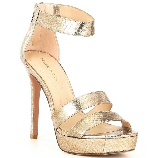 ペレモーダ レディース サンダル シューズ Ocean2 Brushed Metallic Snake Print Leather Dress Sandals Brushed Platinum Snake