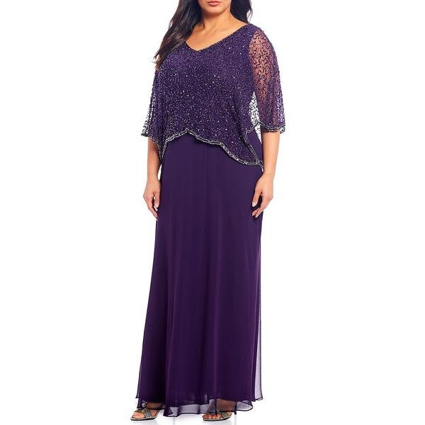 ジェイカラ レディース ワンピース トップス Plus Size Sequin Beaded V-Neck 3/4 Sleeve Popover Gown Plum/Mercury
