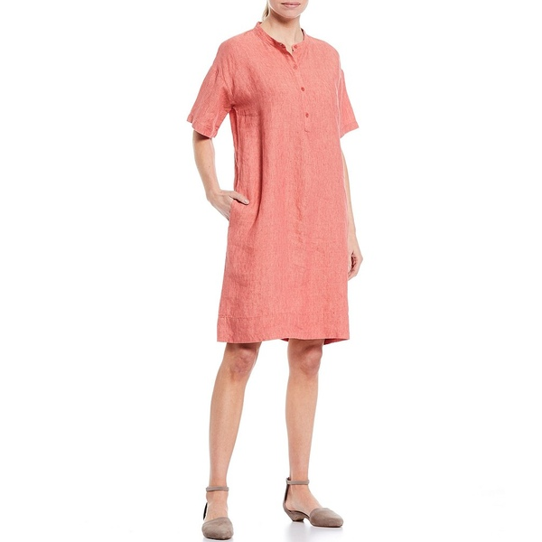エイリーンフィッシャー レディース ワンピース トップス Petite Size Washed Organic Linen Delave Mandarin Collar Short Sleeve Dress Bright Sandstone
