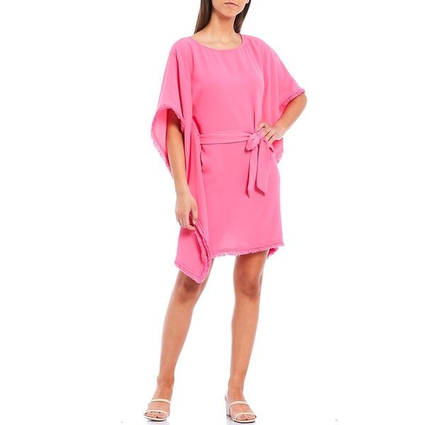 トリーナターク レディース ワンピース トップス Ray Tie Waist Fringe Trim Boat Neck 3/4 Sleeve Dress Pink Flair