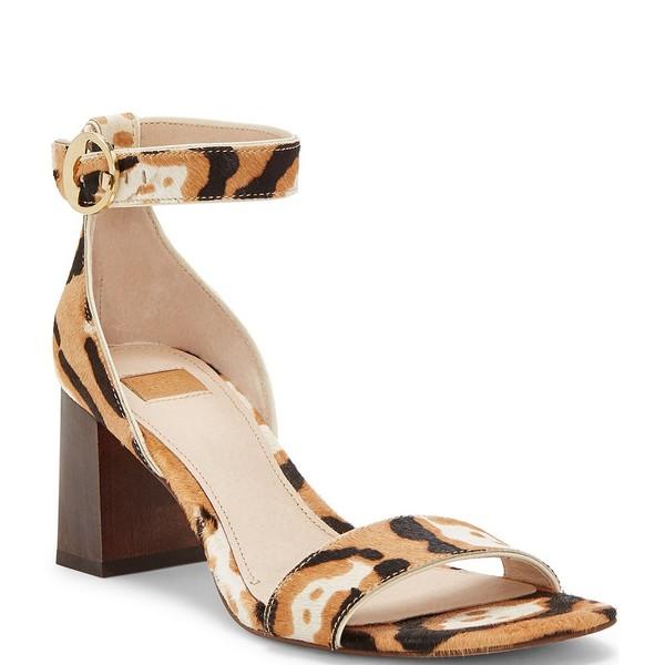 ルイスエシー レディース サンダル シューズ Gabrie3 Square Toe Leopard Print Calf Hair Block Heel Sandals Almond Multi