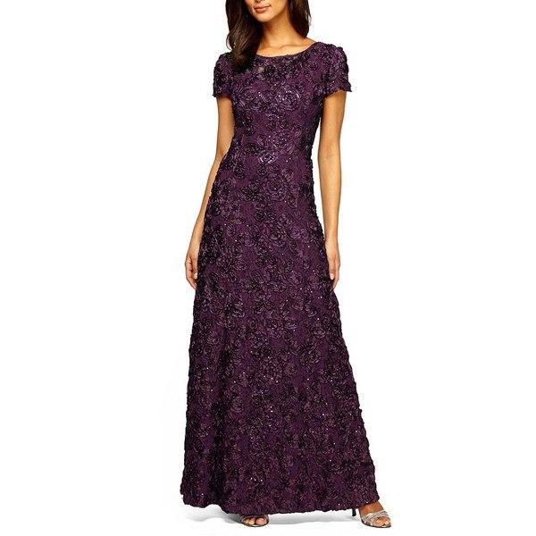 アレックスイブニングス レディース ワンピース トップス Sequined-Lace Rosette-Rose Gown Eggplant