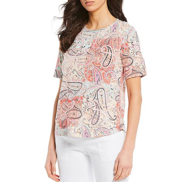 ウェストボンド レディース Tシャツ トップス Petite Size Paisley Print Short Sleeve Crew Neck Cotton Blend Tee Paisley Patch