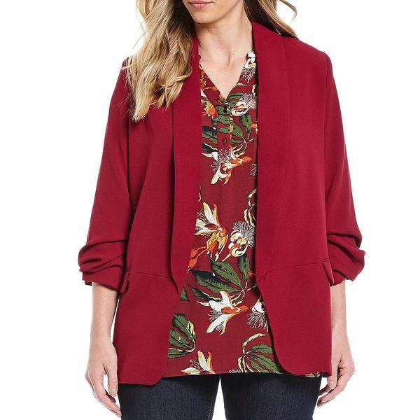 チェルシーアンドセオドール レディース ジャケット&ブルゾン アウター Plus Size Shawl Collar Open Front Shirred Sleeve Blazer Brandy Wine