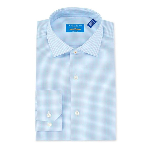 ペリーエリス メンズ シャツ トップス Tech Premium Non-Iron Slim Fit Spread Collar Checked Dress Shirt Aqua