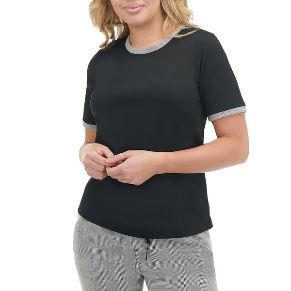 アリソンダーレイ レディース Tシャツ トップス Petite Size Ponte Knit Contrast Trim Crew Neck Short Sleeve Top Black