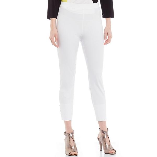 アイシーコレクション レディース カジュアルパンツ ボトムス Hem Button Detail Straight Crop Pull-On Pant White